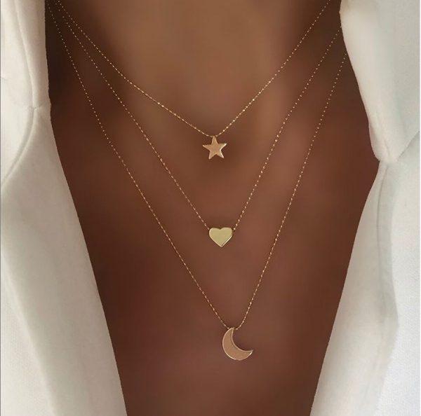 Collier coeur lune étoile