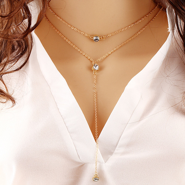 collier double chaine pendant et 3 diamants