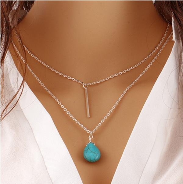 Collier ras du cou double chaine et pendentif pierre turquoise