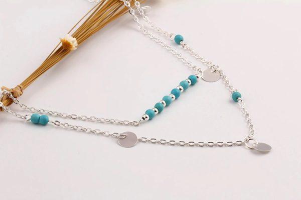 Collier argenté perles bleues