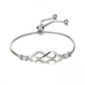 Bracelet infini en acier inoxydable couleur argent