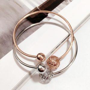 Bracelet Géométrique Sphére en acier inoxydable couleur argent ou rose gold