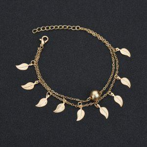 Chaine de cheville dorée en forme de feuilles et perle