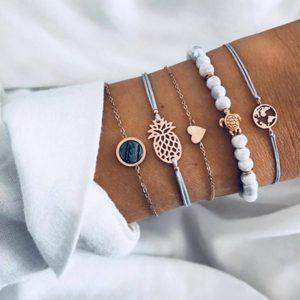 Ensemble de 5 bracelets alliage coton et perle