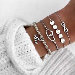 Ensembles de bracelts argentés avec inscription love et coeurs