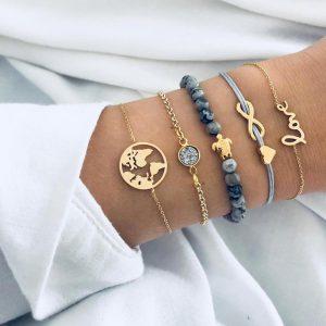 Ensemble de bracelets perles noires gris et alliage doré