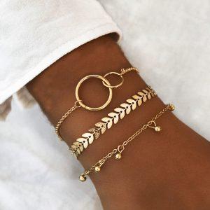 Ensemble de 3 bracelets dorés tendance style bohème chic